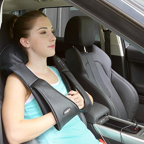 Naipo Schulter Massagegerät Elektrisch für Nacken Rücken Shiatsu Nackenmassagegerät mit Wärmefunktion 3D-Rotation Massage Einstellbaren Geschwindigkeiten für Haus Büro Auto - 8