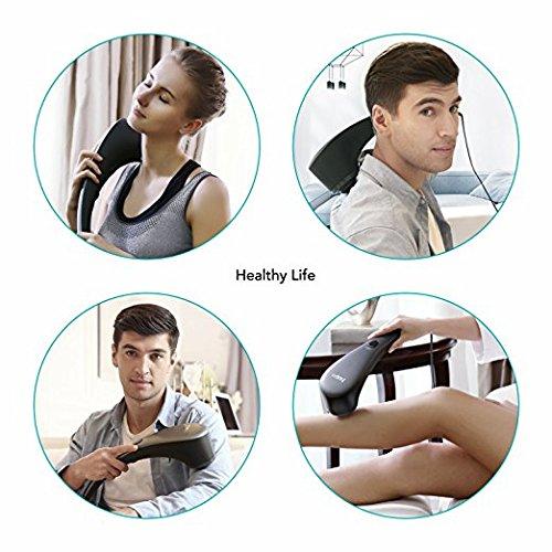 Naipo Massagegeräte Vibration Handmassagegerät mit Infrarot Wärmefunktion und Klopf Massage, 6 Austauschbaren Aufsätzen, Verschiedenen Geschwindigkeitsstufen, für Rücken Beine Fuß Nacken Schulter Körp. - 4