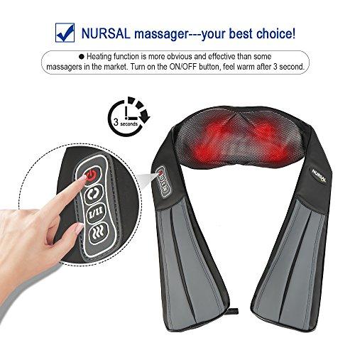 NURSAL Kabelloses Shiatsu Knetmassagen Massagegerät mit Hitzefunktion für Schultern, Nacken, Hüfte und Rücken, lange Riemen und aufladbare Batterie inklusive, für Zuhause, im Büro oder unterwegs - 4