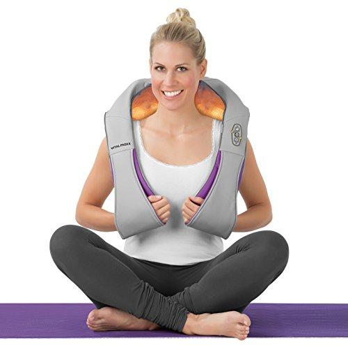 VITALmaxx Schulter Massagegerät | Elektrische Nacken Massage | Shiatsu Wärme Therapie | Nacken Schulter Rücken Lenden | 3D-Rotation Mit Wärme | Gegen Verspannungen | Wärmekissen U-Design - 5