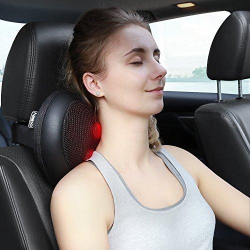 Naipo Shiatsu Massagekissen Nacken Massagegerät  mit Infrarot Wärmefunktion Massage und 4 3D-rotierenden Massageköpfen für Rücken Nacken Schulter im Auto Büro Zuhause (PU Leder Schwarz) - 3