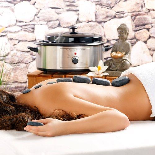 newgen medicals Hot Stone Massage: Professionelles Hot-Stone-Set: Wärmegerät & 23 Steine (heiße Steine) - 2