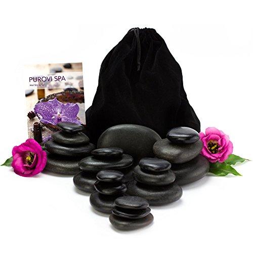Purovi Spa Hot Stone Massage-Set | 20 Natursteine im Samtbeutel