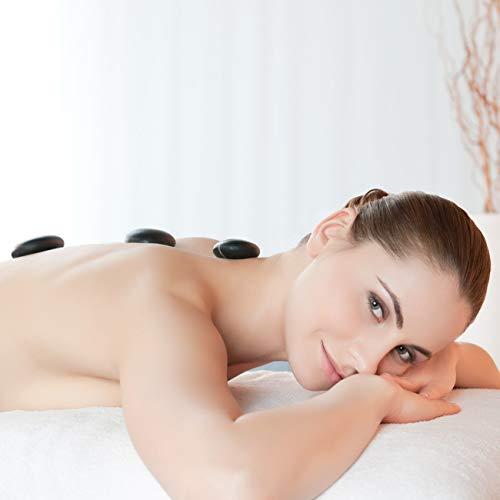 Purovi Spa Hot Stone Massage-Set | 20 Natursteine im Samtbeutel | Basaltsteine | Wellness-Set - 3