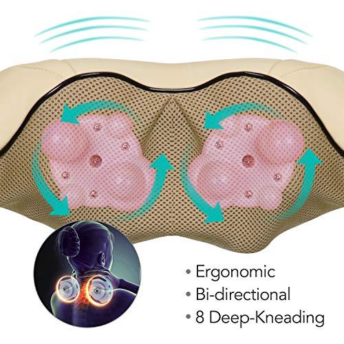 Naipo Schulter Massagegerät Elektrisch für Nacken Rücken Shiatsu Nackenmassagegerät mit Wärmefunktion 3D-Rotation Massage Einstellbaren Geschwindigkeiten - 3