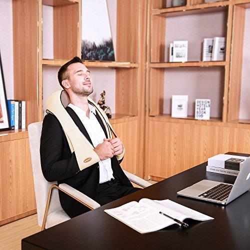 Naipo Schulter Massagegerät Elektrisch für Nacken Rücken Shiatsu Nackenmassagegerät mit Wärmefunktion 3D-Rotation Massage Einstellbaren Geschwindigkeiten - 7