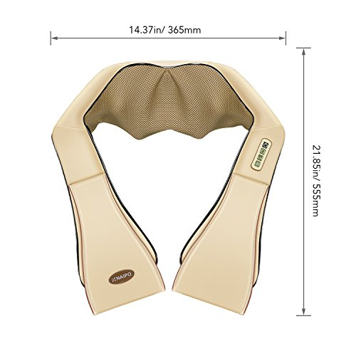 Naipo Schulter Massagegerät Elektrisch für Nacken Rücken Shiatsu Nackenmassagegerät mit Wärmefunktion 3D-Rotation Massage Einstellbaren Geschwindigkeiten - 8